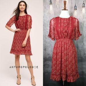 Anthropologie Floreat Amber Ruffle Dress - Wine 🍷